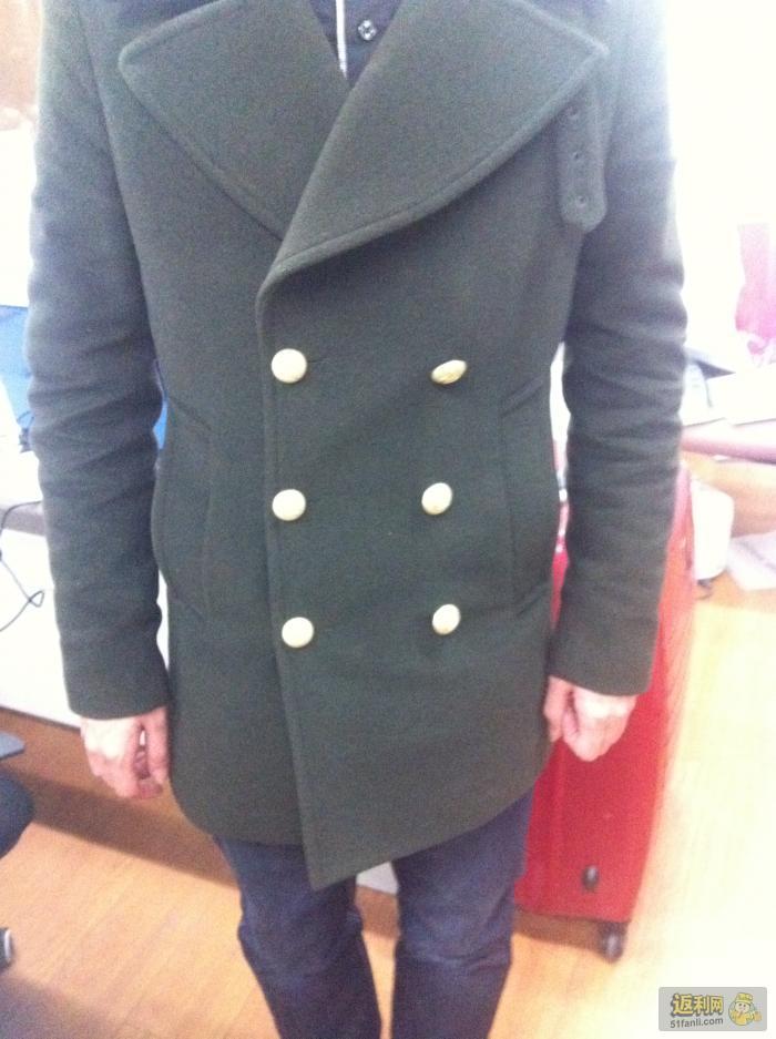 930入手gxg男装12新款 冬装时尚大气款绿色翻领大衣