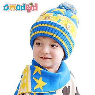 宝宝可爱加绒帽子围巾两件套(多色选)