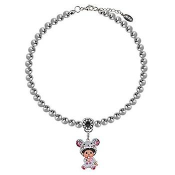 Monchhichi 蒙奇奇老鼠银灰色仿水晶珍珠女士项链