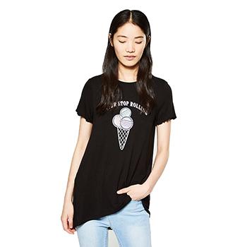 天猫C&A 女装中长款木耳边短袖T恤