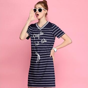 天猫1日0点:真维斯 夏装V领印花条纹短袖连衣裙