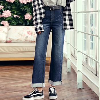 韩都衣舍 新款女装韩版宽松直筒显瘦牛仔裤