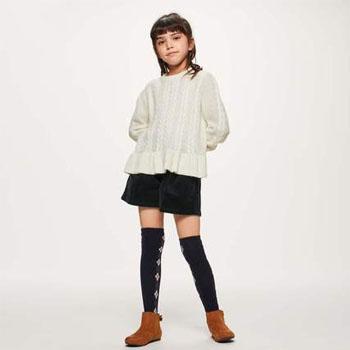 天猫双11预告:GU 女童下摆花边纽花针织衫