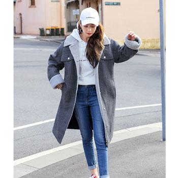 天猫HSTYLE 韩都衣舍 冬装新款中长款仿羊羔毛外套